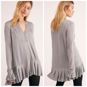 Free people nwt gray long top medium